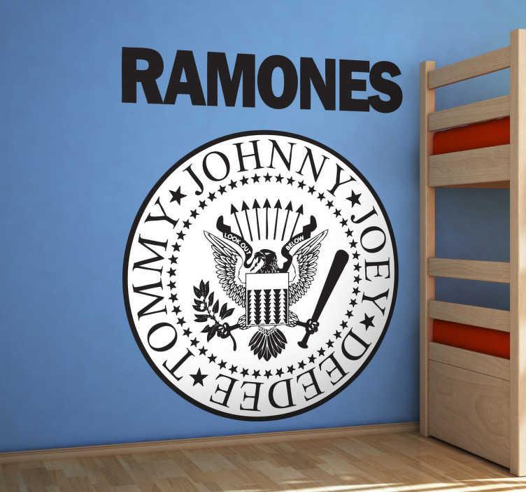 TenVinilo. Vinilo decorativo logo Ramones. Pegatina circular para fans con el característico emblema de esta banda punk norteamericana.