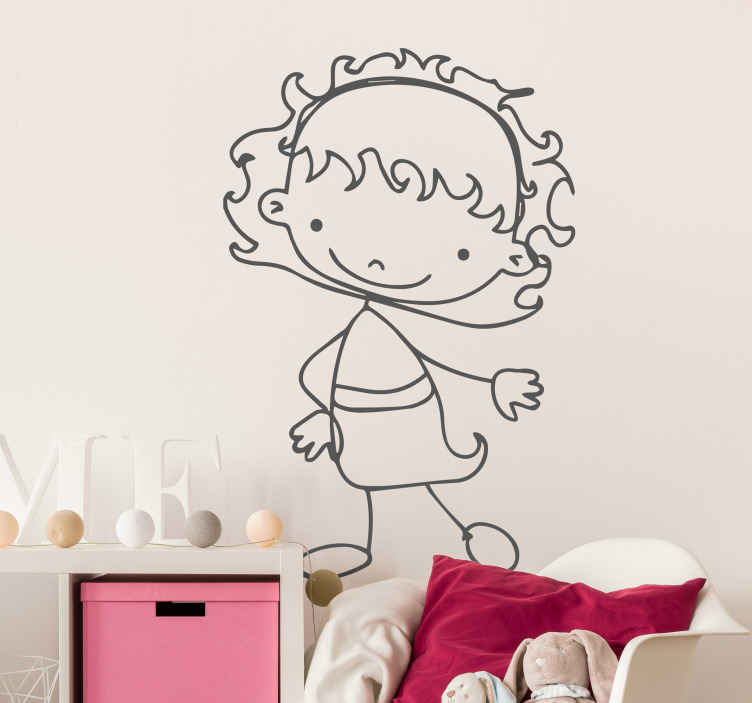 TenStickers. Little Girl Outline Kids Sticker. Add a touch of fun with this happy little girl. Kids wall sticker art suitable for children spaces such as bedrooms, nurseries and play areas.