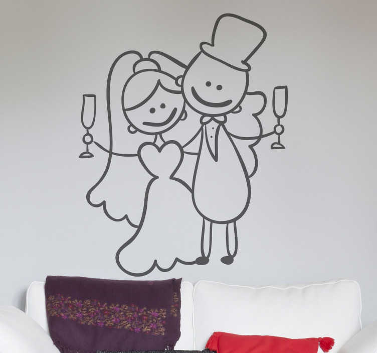 TenStickers. Newly-wed Couple Toast Sticker. Decorative and fun sticker with a drawing of a happy newly-wed couple toasting.