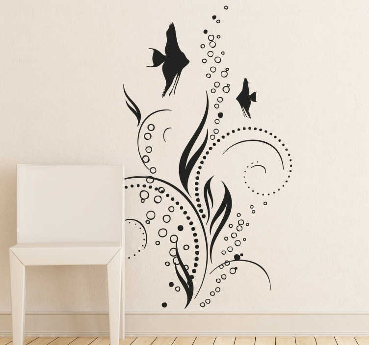 TenStickers. Decorative Floral Fish Decal. An elegant aquatic theme design including fish and bubbles. A stylish decal from our collection of sea wall stickers.