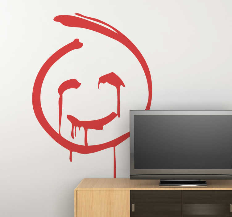 TenStickers. Autocolante decorativo smile do Mentalista. Este autocolante de parede foi feito a pensar nos admiradores da famosa série ''Mentalista'', ilustrando o smile do ''Red John''.