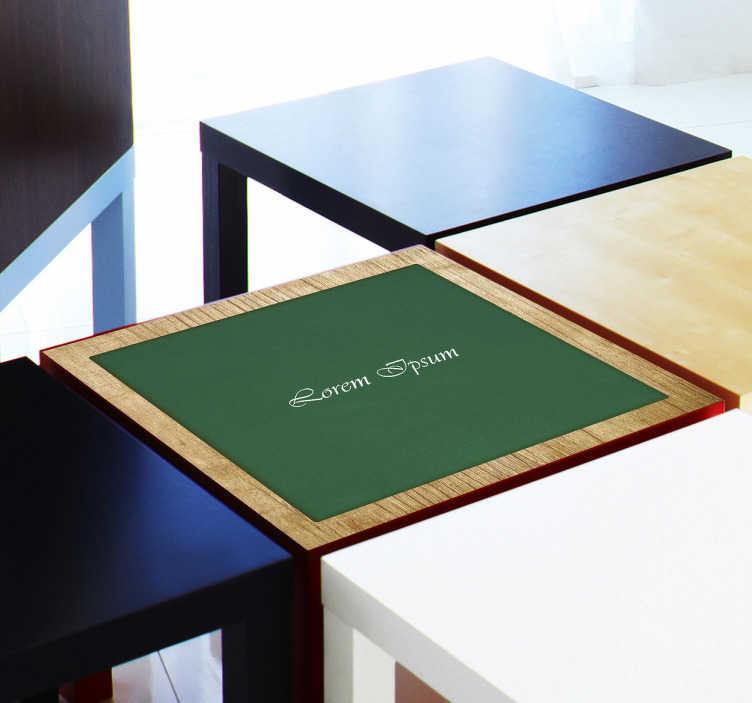 TenStickers. Personalisierbarer Poker Tisch Aufkleber. Wenn Sie gerne Poker spielen und Ihren Tisch in einen Pokertisch verwandeln möchten, dann ist dieser Aufkleber genau das passende für Sie.