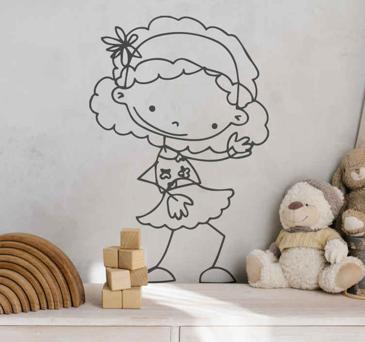 TenStickers. Naklejka na ścianę dla dzieci tańcząca dziewczynka. Zabawna naklejka na ścianę przedstawiająca dziewczynkę z kwiatkiem we włosach. Naklejka do pokoju dla dzieci.
