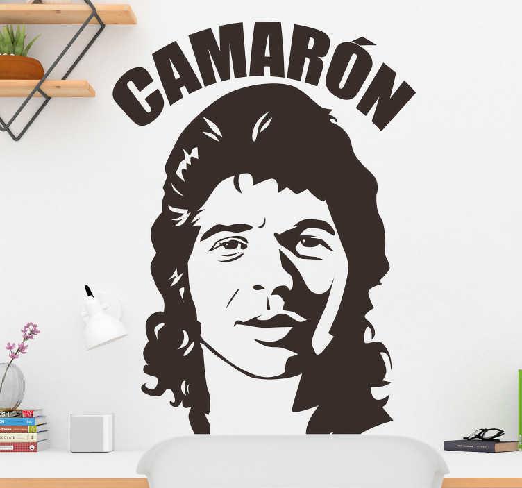 TenVinilo. Vinilo decorativo retrato Camarón. Adhesivo con un retrato iconográfico de este reconocidísmo cantante de flamenco, el más grande de siempre.