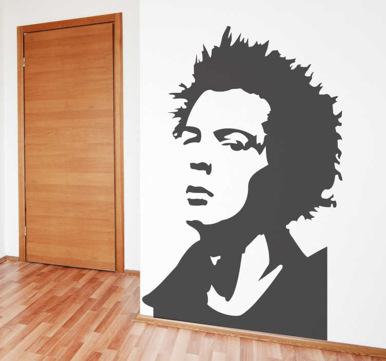 TenStickers. Sid Vicious Wall Sticker. Are you a fan of Sex Pistols? Fan of Sid Vicious? Decorate your bedroom or living room with this monochrome decal of Sid!