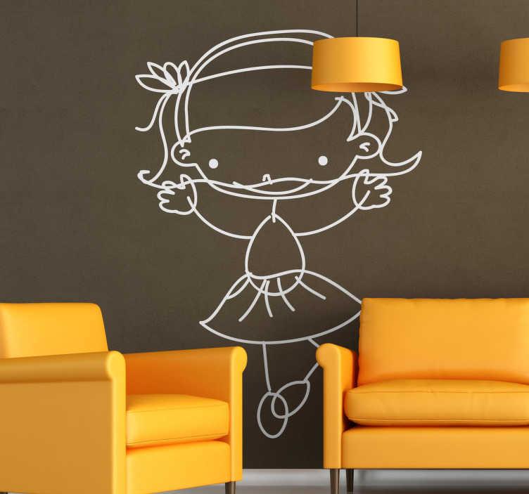 TenStickers. Naklejka dla dzieci dziewczynka 60. Oryginalna naklejka na ścianę dla dzieci. Obrazek przedstawia szkic dziewczynki w spódniczce w pozycji tańczącej.