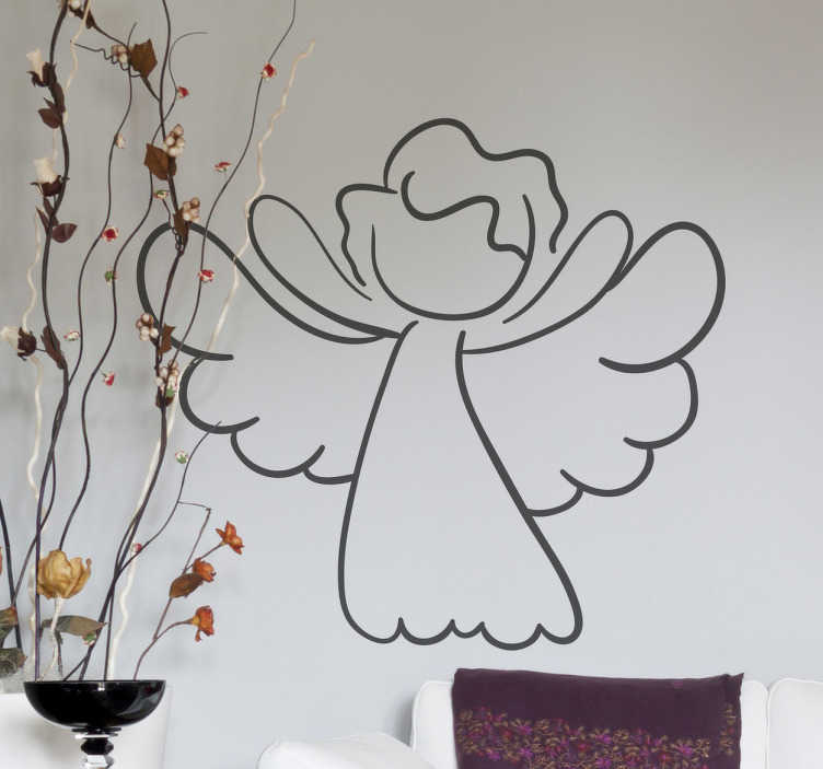 TenStickers. Angel Outline Decorative Decal. This angelwall art sticker illustrates a simple and innocent angel. With its wide wings and open arms, this angel decal creates a peaceful and cozy atmosphere.