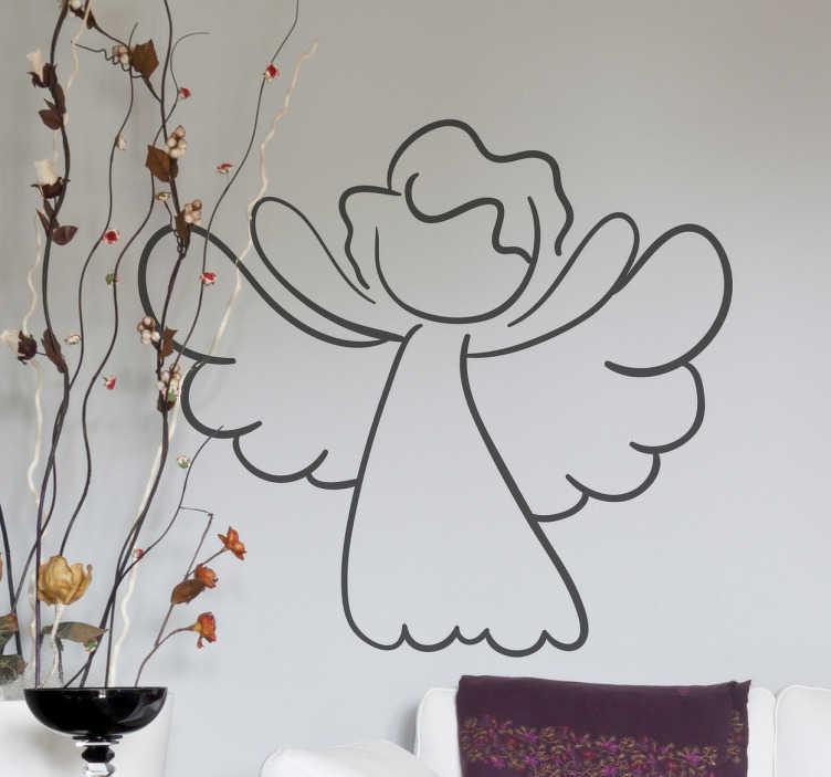 TenStickers. Naklejka aniołek kontur. Naklejka na ścianę przedstawiająca kontur aniołka. Idealny pomysł na dekorację ścian oraz mebli w trakcie świąt Bożego Narodzenia.