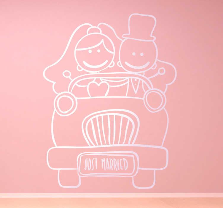 TenStickers. Wandtattoo Just married. Dekorieren Sie Ihr Zuhause mit dieser niedlichen Zeichnung als Wandtattoo. Es zeigt ein frisch verheiratetes Paar, dass in einem Auto sitzt