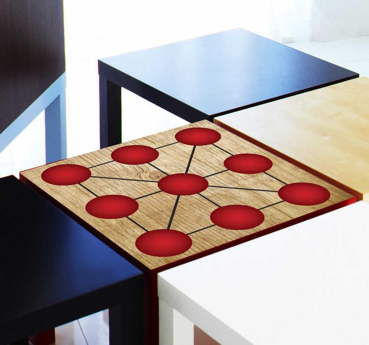 TenStickers. Vinil decorativo de jogo de mesa 3 em linha. Autocolante de jogos eternos com os quais podes decorar uma mesa quadrada e também se divertir jogando alguns jogos tick-to-toeO adesivo decorativo inclui o design das caixas com formato redondo e na cor vermelha e também uma simulação de textura de madeira para dar um toque rústico e elegante