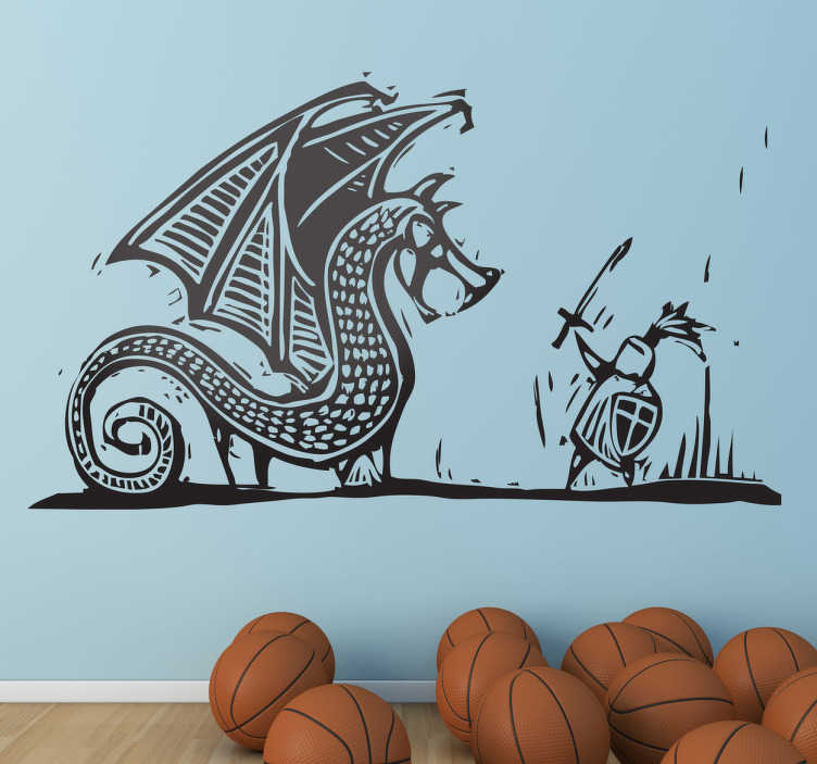Muursticker gegraveerde draak en ridder in strijd