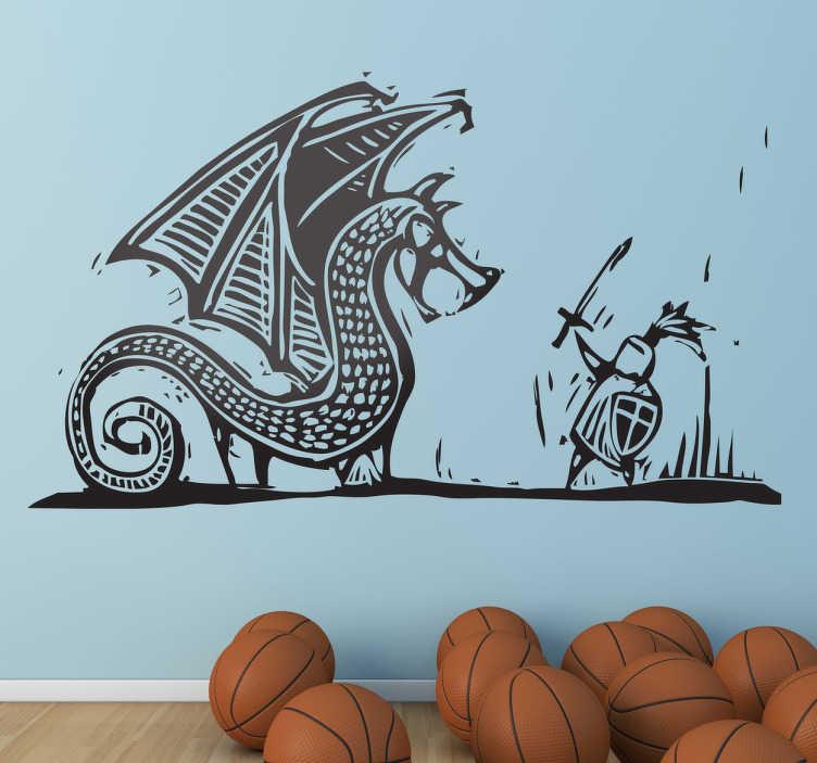 TenStickers. 성. 조지는 드래곤 벽 스티커를 죽입니다.. 기독교 벽 스티커 - 세인트 조지와 용 사이의 전설적인 전투. 드래곤 벽 스티커는 다양한 크기와 50 가지 색상으로 제공됩니다.