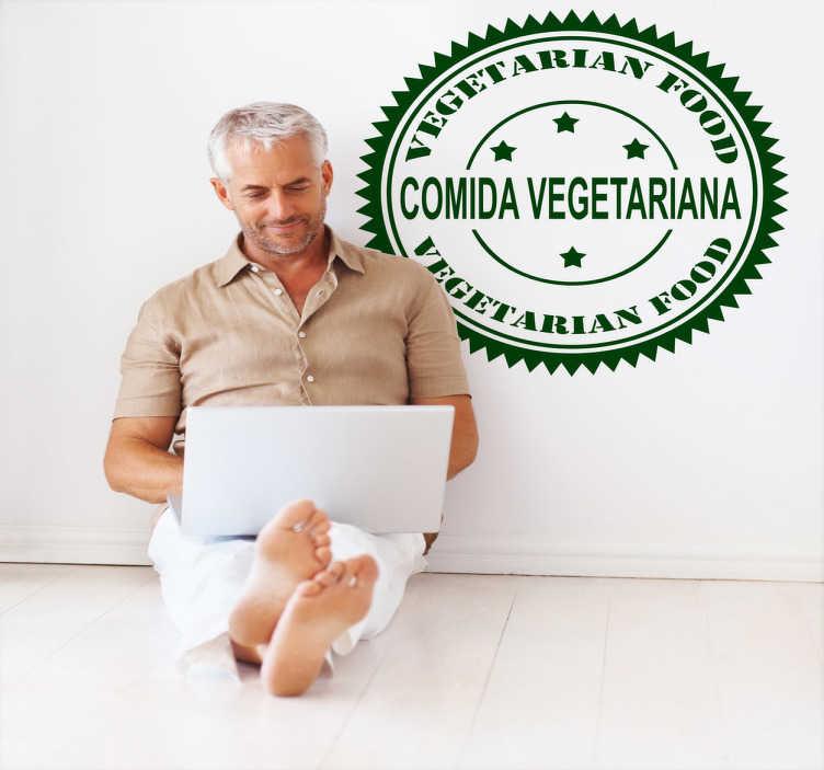 TenStickers. Vinil decorativo comida vegetariana. Vinil decorativo para indicar que o seu restaurante ou loja / negócio dispõe de comida vegetariana. Autocolante com efeito adesivo de parede.