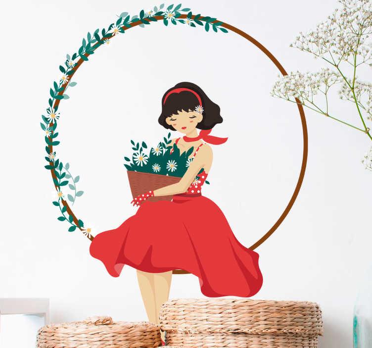 TenStickers. Naklejka dziecięca dziewczynka 70. Naklejka dekoracyjna dla dzieci przestawiająca małą dziewczynkę siedzącą po turecku. Ładny rysunek do dekoracji pokoju Twojej małej królewny.