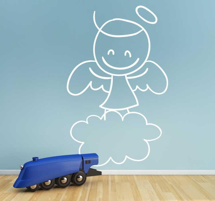TenStickers. Sticker tekening engeltje op wolk. Op deze sticker ziet u een engel getekend met vleugels en een aureool, staand op een wolk! Leuk om de kinderkamer mee te personaliseren.