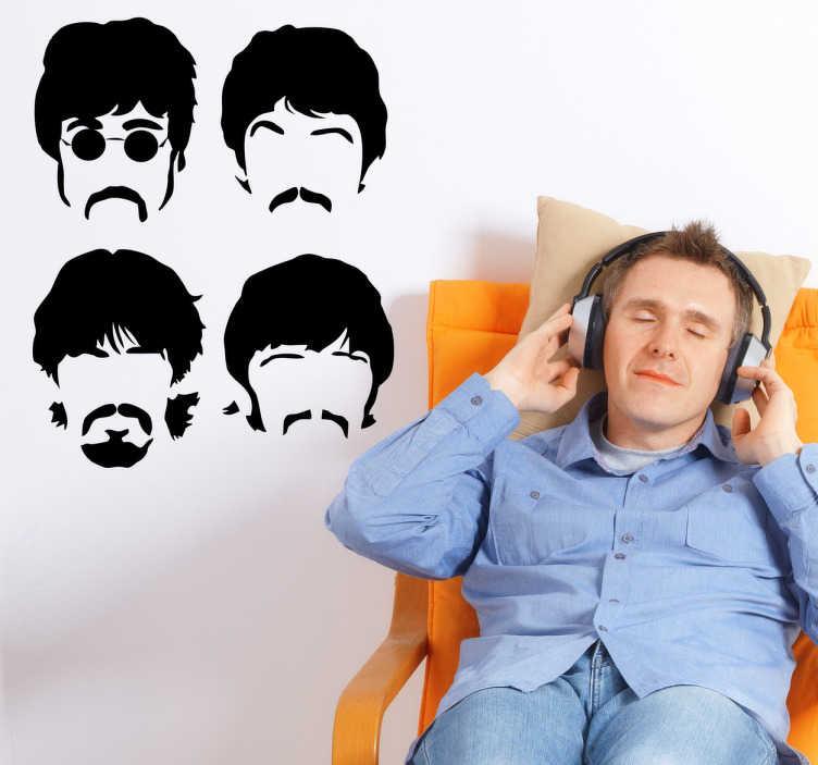 TenVinilo. Vinilo decorativo caras beatles. Adhesivo decorativo de los cuatro integrantes de la banda de música The Beatles. Para los más entusiastas del grupo.
