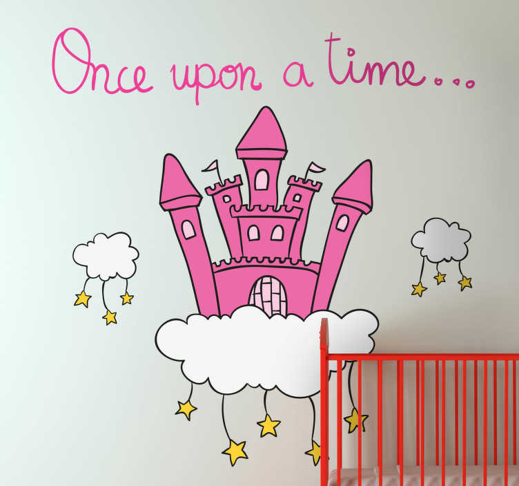 TenStickers. Once Upon A Time Castle Wall Decal. Kids Wall Stickers - Magical wall decoration ideal for decorating areas for children. Create a place for story time to tell great childhood story classics and fairy tales. This vibrant wall sticker shows a pink castle on a cloud with stars hanging down.