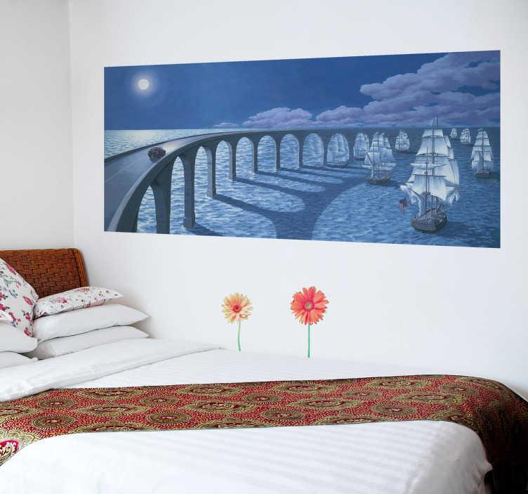 TenVinilo. Vinilo decorativo puente barcos ilusión. Vinilo decorativo para decorar la habitación de tus hijos con este precioso paisaje y personalizar tu hogar.