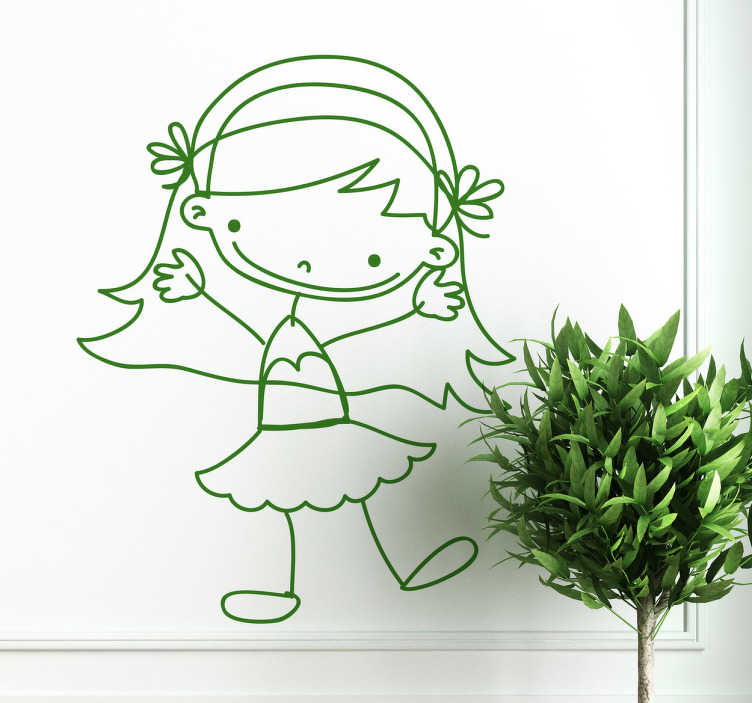 TenStickers. Sticker tekening meisje rokje. Een simpele maar leuke muursticker van een vrolijk meisje met een kort rokje en zeer lange haren met hierin twee bloemetjes.