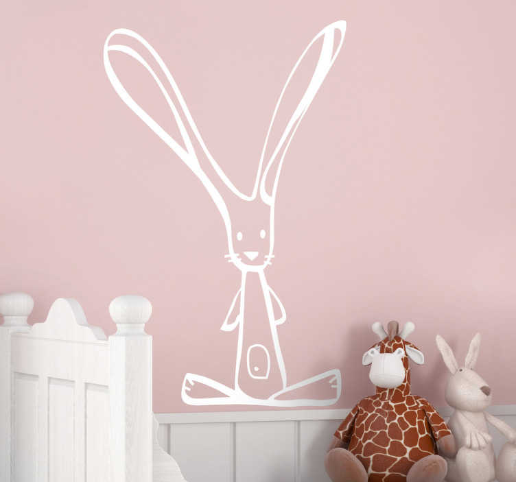 TenStickers. Kids Bunny Sticker. Illustration of a cute long eared bunny rabbit, perfect for your child's bedroom or nursery.