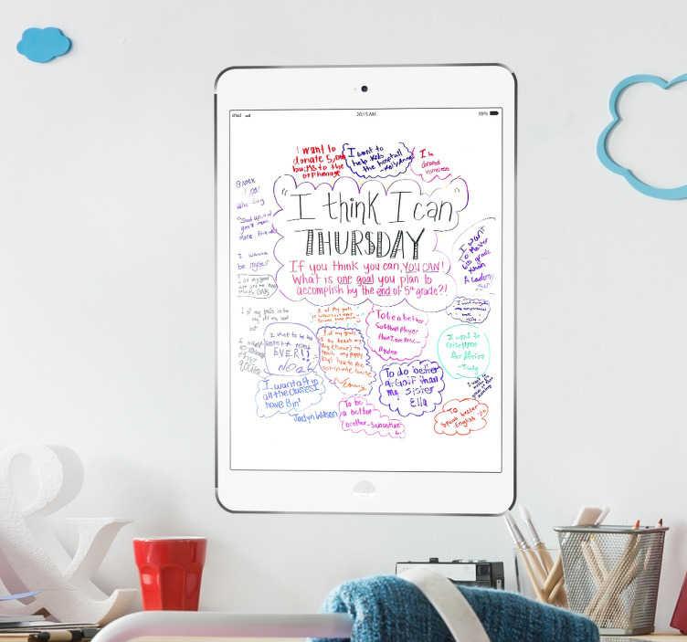 TenStickers. Adesivo quadro branco ipad air. Adesivo original para escrever com o marcador e apontar o que precises. Autocolante com um desenho de um tablet da Apple com fundo branco.