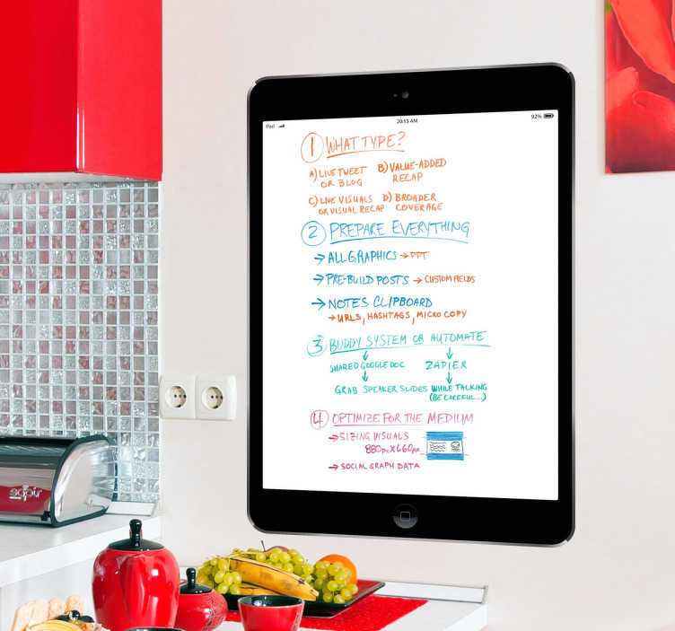TenStickers. Black iPad Air Whiteboard Sticker. A superb black iPad whiteboard design to decorate your kitchen or any space at home. A great whiteboard sticker to write on.
