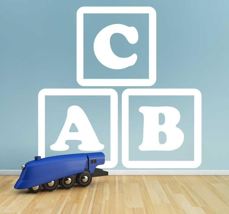 TenStickers. Vinil decorativo cubos abc. Vinil decorativo com três cubos com as três primeiras letras do abecedário, ABC. Autocolante ideal para decoração de interiores.