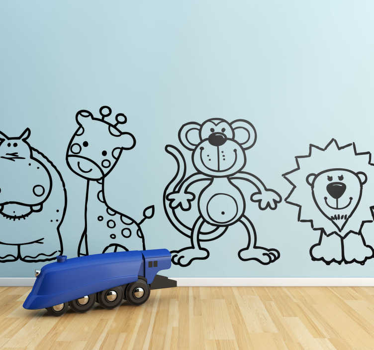 TenStickers. 행복한 야생 동물 애들 스티커. 아이 동물 스티커 - 행복한 야생 동물의 그룹! 사자, 하마, 그리고 거품이 많은 원숭이를 특징으로하는 유아용 침실 스티커.