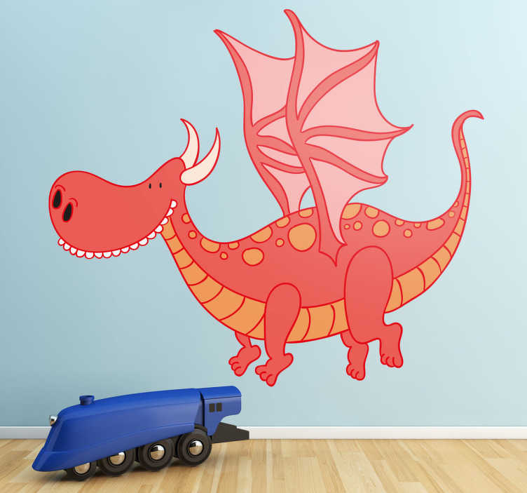 TenStickers. Kids Smiling Dragon Wall Sticker. Kids Wall Stickers - Playful illustration of a happy smiling dragon. Ideal for decorating areas for children.