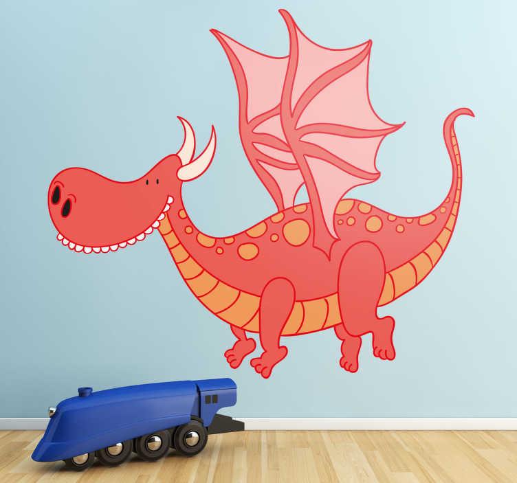 TenStickers. Sticker enfant dragon gentil. Décorez la chambre de votre enfant avec ce dragon souriant qui vole sur sticker.