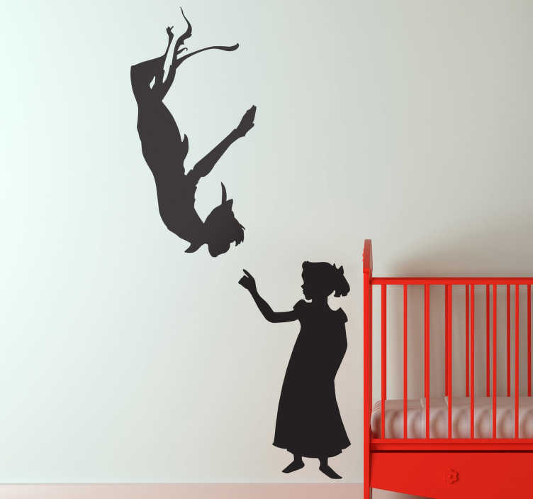 TenStickers. Wendy & Peter Pan Wall Sticker. A silhouette outline design of Peter Pan and Wendy from our brilliant collection of Peter Pan wall stickers for children