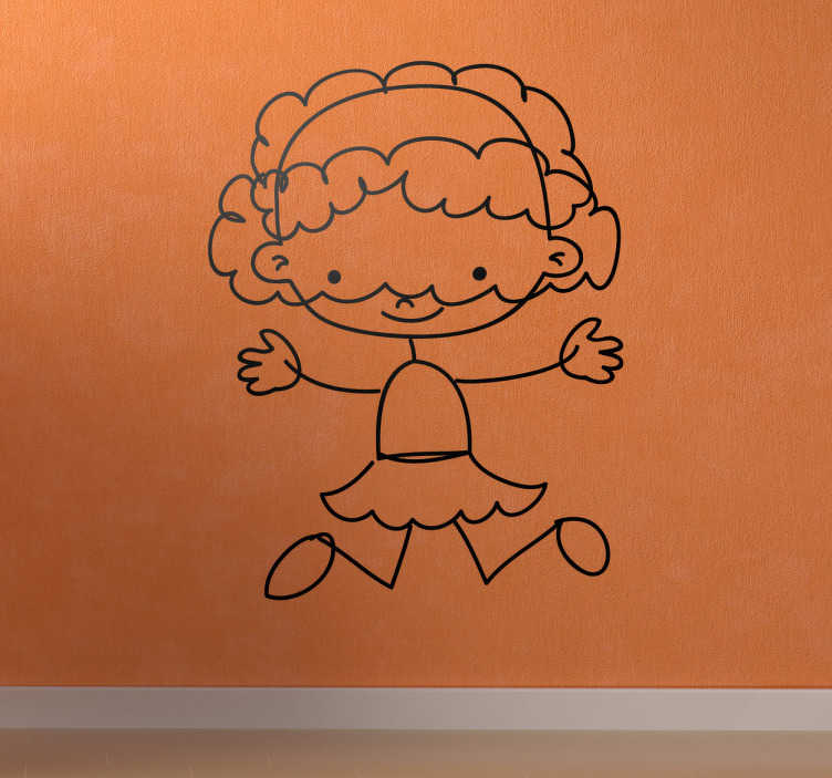 TenStickers. Girl Jumping Sticker. A very friendly sticker of a girl with long hair jumping. Superb decal to decorate your child´s room and make it look more like it should!
