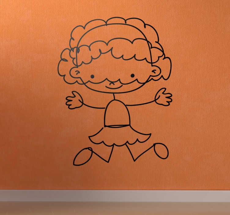 TenStickers. Naklejka dziecięca dziewczynka 90. Naklejka dekoracyjna dla dzieci przedstawiająca rysunek małej dziewczynki z bardzo gęstymi włosami, które radośnie owijają się wokół jej twarzy.