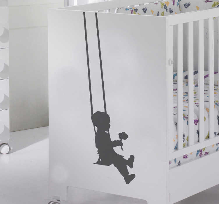 TenStickers. Kids Silhouette Boy Swing Decal. Kids Wall Stickers - Swing Silhouette Decal illustrating a young boy on a swing holding a flower. Our vinyl stickers are easy to apply and leave no residue on removal
