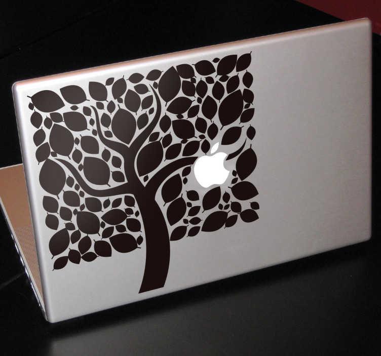 TenStickers. Naklejka na laptopa jabłoń. Naklejka na Macbooka przedstawiająca drzewo o kwadratowym kształcie, na którym znajduje się jabłuszko naszego Macbooka. Orginalny pomysł na odmianę sprzętu.