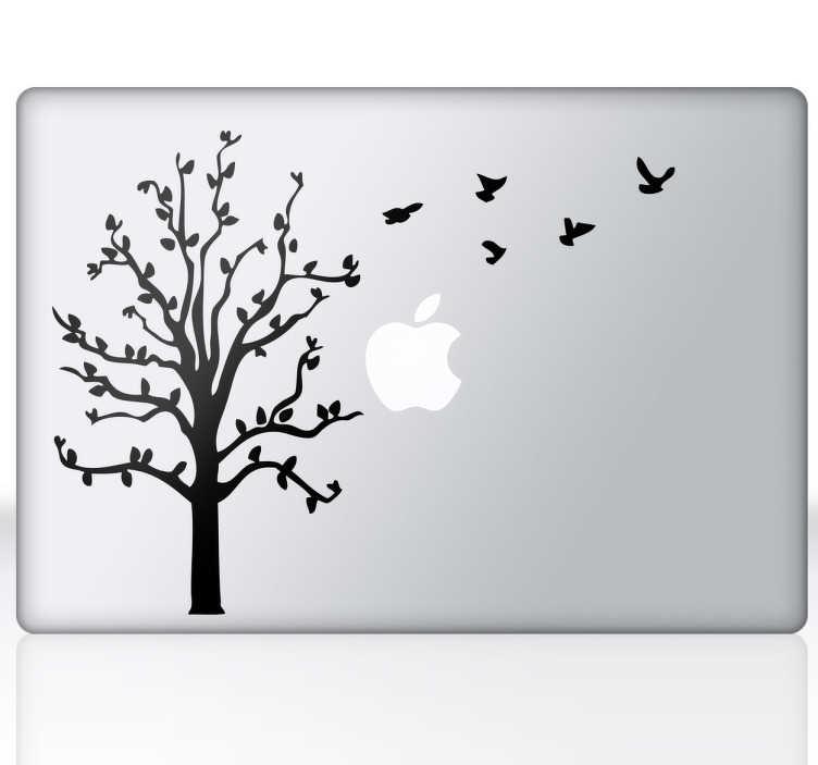 TenStickers. 树和飞鸟macbook贴纸. 灵感来自大自然的剪影笔记本电脑贴纸装饰你的mac并为你的设备增添一丝独创性。来自我们的macbook贴纸系列的精美树形贴花。