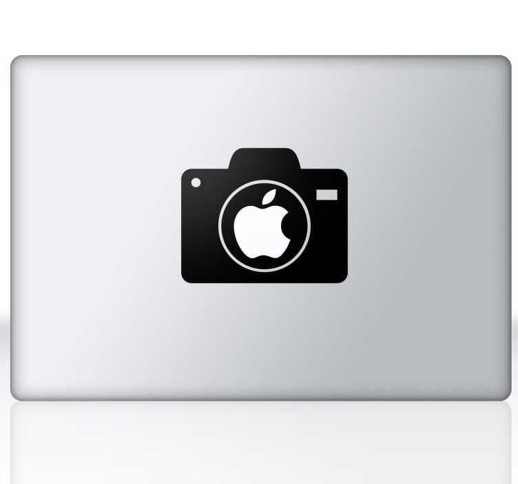 TenStickers. Digital Camera MacBook Sticker. A superb design of a digital camera to decorate the apple logo on your Mac! A exclusive design from our collection of MacBook stickers.