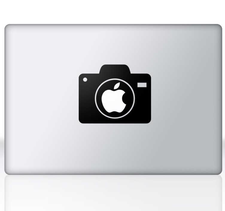 TenStickers. Adesivo per mac macchina fotografica. Uno sticker per il tuo portatile Apple che racchiude il logo con una macchina fotografica semplice ma raffinata.