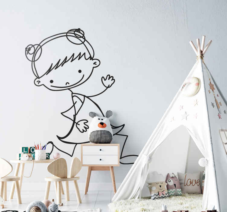 TenVinilo. Vinilo infantil nena. Vinilo decorativo infantil dibujo niña con dos moños corriendo sonriente. Este es un adhesivo dibujado con trazos simples que intenta transmitir alegría y sencillez a tu decoración.