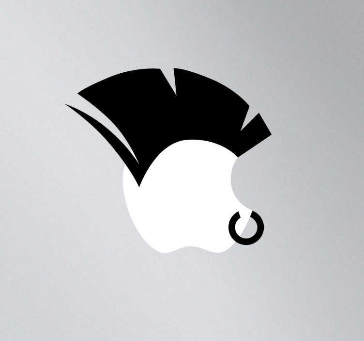 TenStickers. Sticker voor MAC apple punker neusring. Een leuke decoratie sticker van een punker met neusring voor je Ipad, Macbook of ander Apple toestel. Verkrijgbaar in verschillende kleuren en maten.