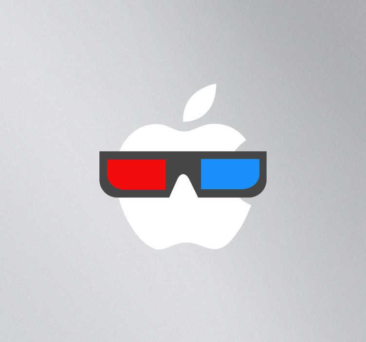 TenStickers. Sticker mac apple lunettes 3D. Personnalisez votre MacBook avec ce sticker lunettes bicolores 3D conçu pour Apple.