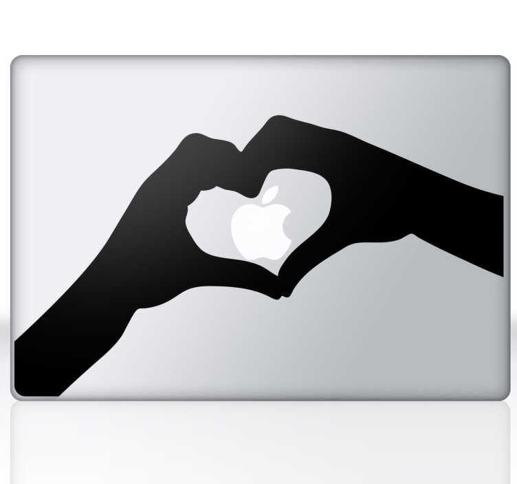 TenStickers. Autocolante decorativo coração e mãos MacBook. Autocolante decorativo ilustrando um coração formado por duas mãos, perfeito para demonstrar o seu amor pela Apple e para personalizar o seu MacBook!