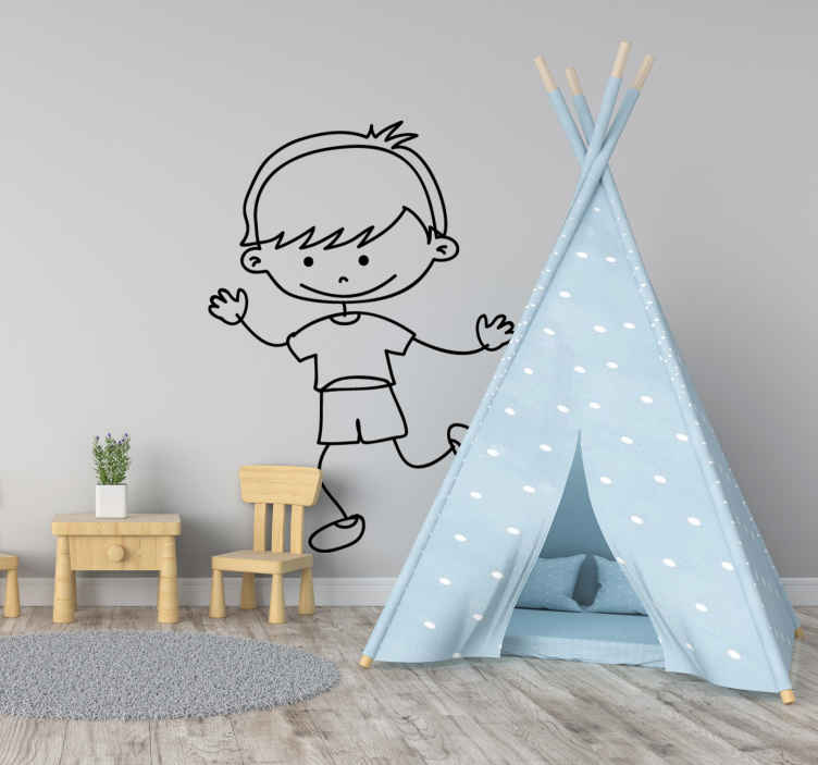 TenStickers. Boy Smiling Sticker. A very friendly sticker of a boy smiling and running. Superb decal to decorate your child´s room and make it look more like it should!