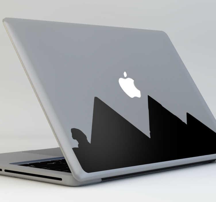 TenStickers. Naklejka na laptop sylwetka Egiptu. Naklejka dekoracyjna na laptop, która przedstawia sylwetkę trzech egipskich piramid i sfinksa.