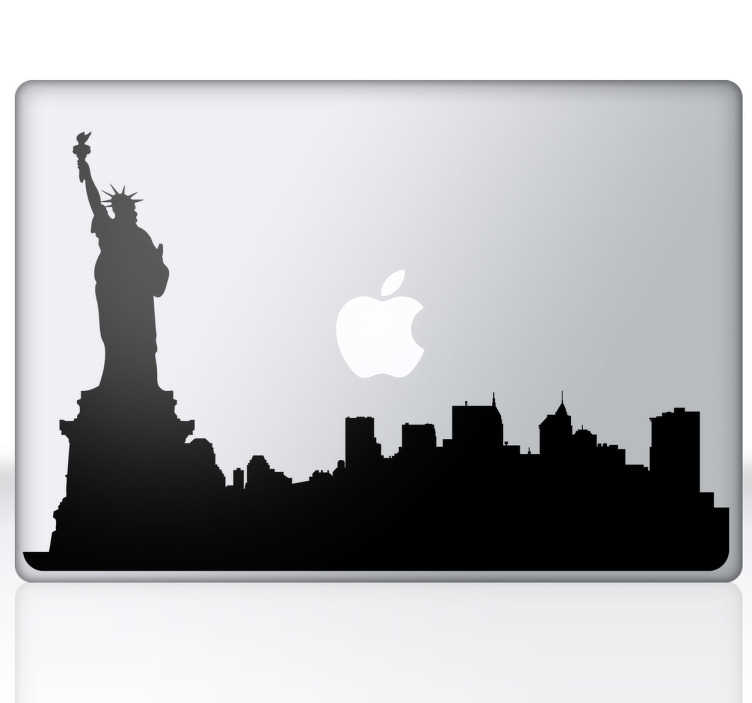 TenStickers. Naklejka na laptop sylwetka Nowy Jork. Naklejka dekoracyjna na laptop, która przedstawia sylwetkę panoramy miasta Nowy Jork z charakterystyczną statuą Wolności.
