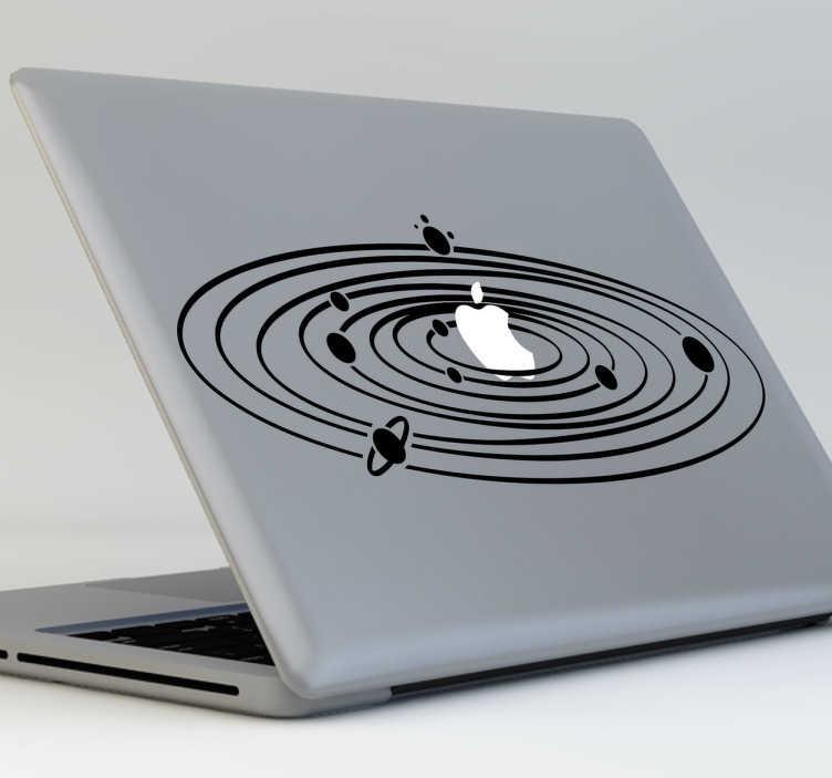 TenStickers. Naklejka na macbooka układ słoneczny. Naklejka dekoracyjna na Twego Macbooka w postaci układu słonecznego!