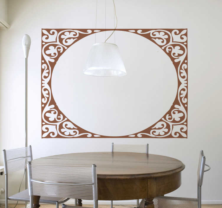 TenStickers. Modern Oval Frame Sticker. Original sticker formed by an inner ellipse and a floral decorative frame to decorate any room in the home.