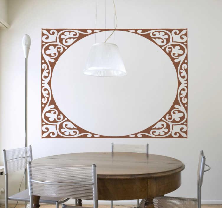 TenVinilo. Adhesivo marco elipse modernista. Original vinilo decorativo formado por una elipse interior y un marco decorativo floral para decorar cualquier estancia del hogar.