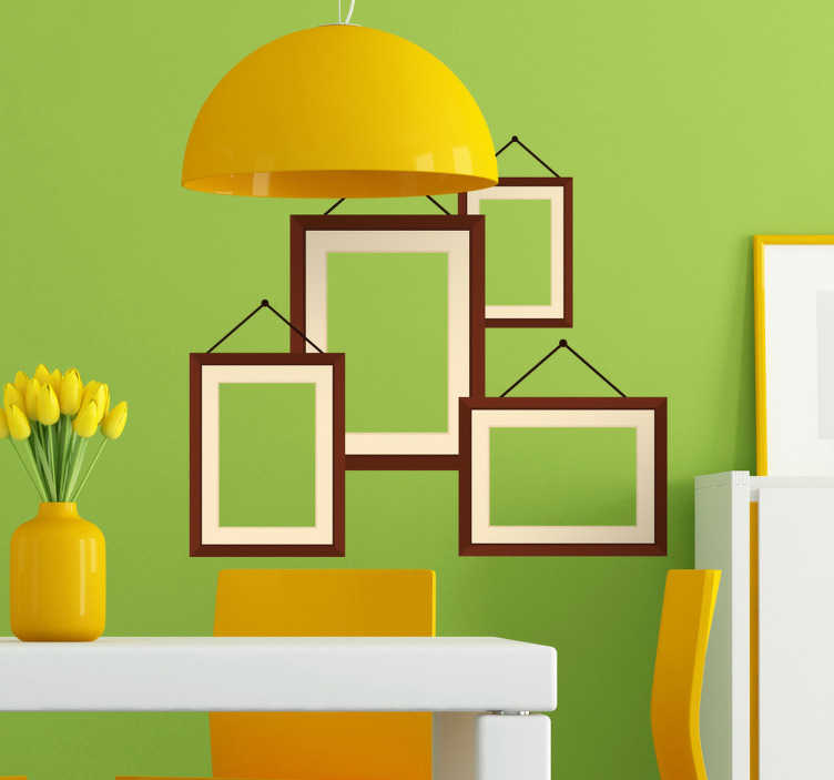 TenStickers. Hanging Photo Frames Sticker. Elegant composition of various decorative frames that simulate being hung on the wall.