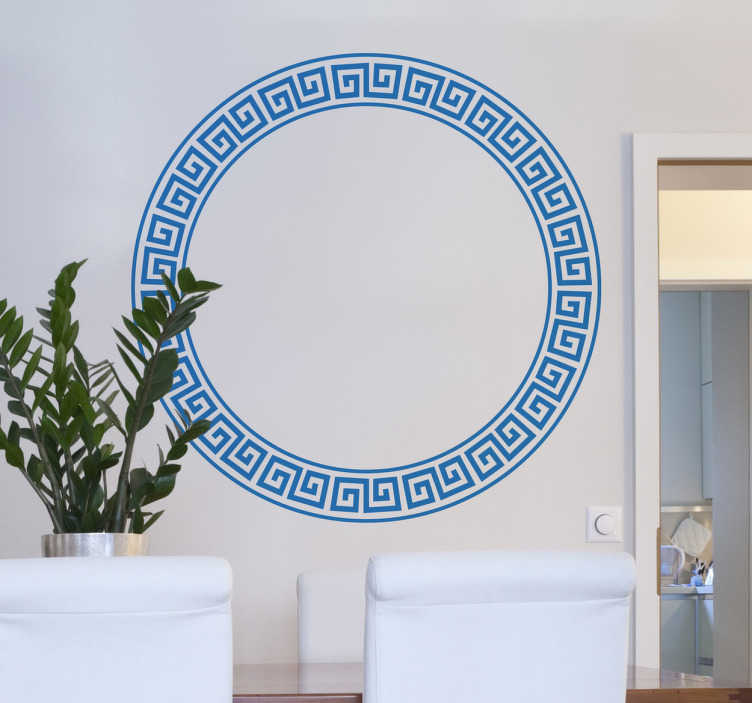 TenStickers. Greek Style Circular Sticker. Sticker of a circular border with a classical Greek style to decorate your home.